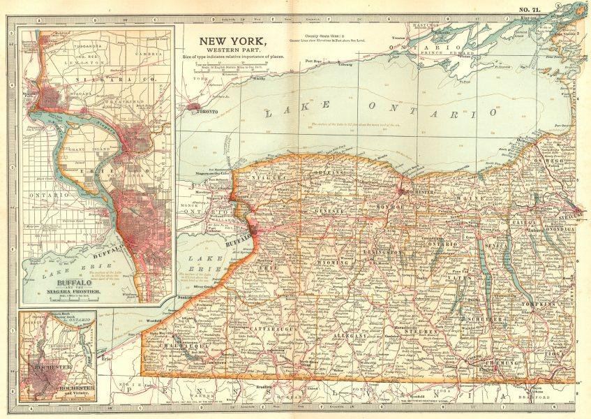 Associate Product NEW YORK STATE WEST.Buffalo Niagara Rochester.1812-14 1756-59 battles 1903 map