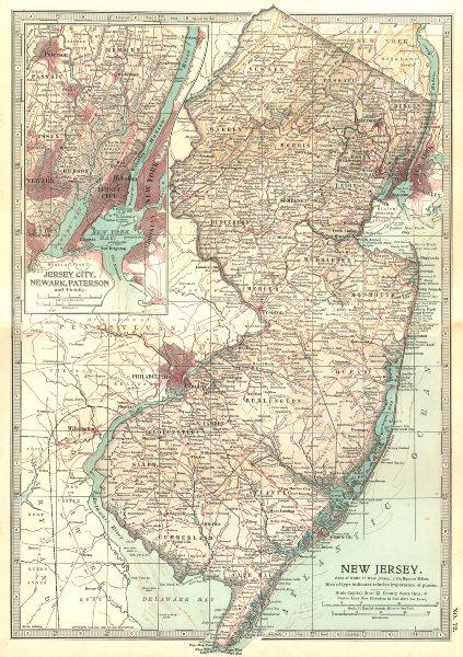 Associate Product NEW JERSEY. Jersey City Newark. Revolutionary war battlefields/dates 1903 map
