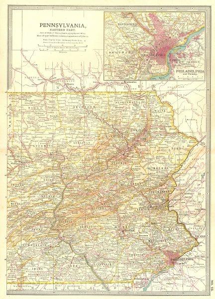 Associate Product PENNSYLVANIA EAST,PHILADELPHIA. Shows Gettysburg & 1777 battles/dates 1903 map