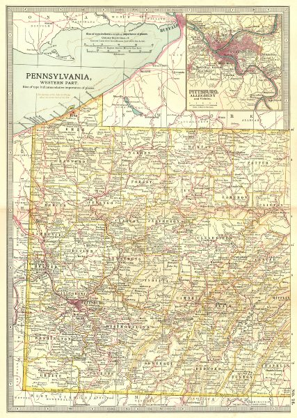 Associate Product PENNSYLVANIA WEST PITTSBURG. 3 French & Indian War battles/dates 1754/5 1903 map