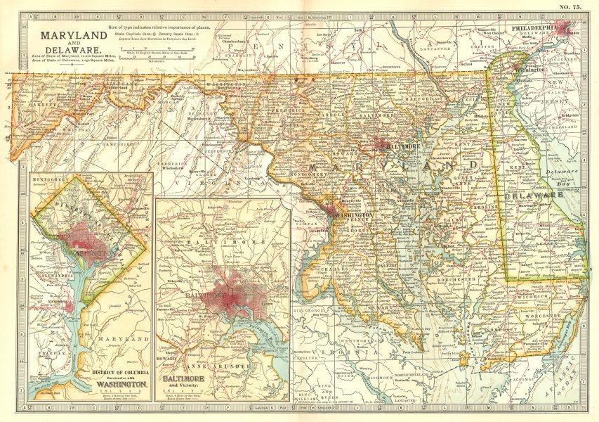 Associate Product MARYLAND DELAWARE.Baltimore Washington DC.w/ Civil War battles/dates 1903 map