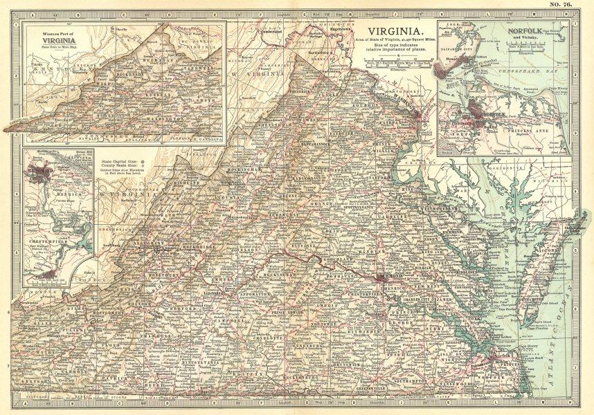VIRGINIA.Norfolk Richmond Petersburg.w/ Civil War battlefields/dates 1903 map