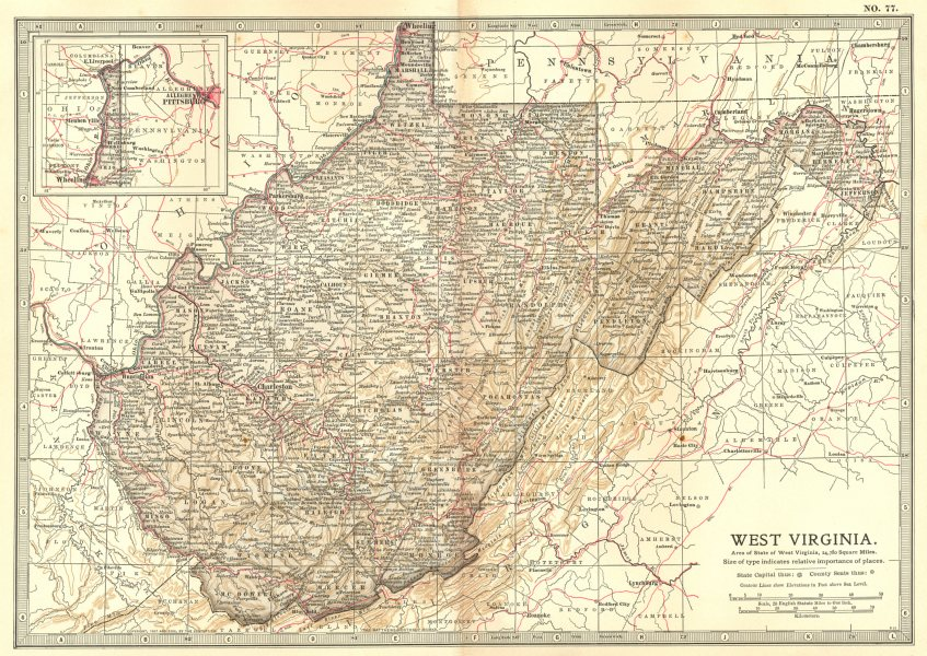 Associate Product WEST VIRGINIA. State map showing counties. Britannica 10th edition 1903