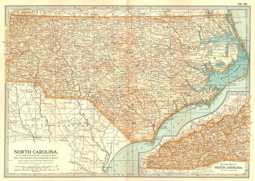 Associate Product NORTH CAROLINA. State map. Shows revolutionary & civil war battlefields 1903