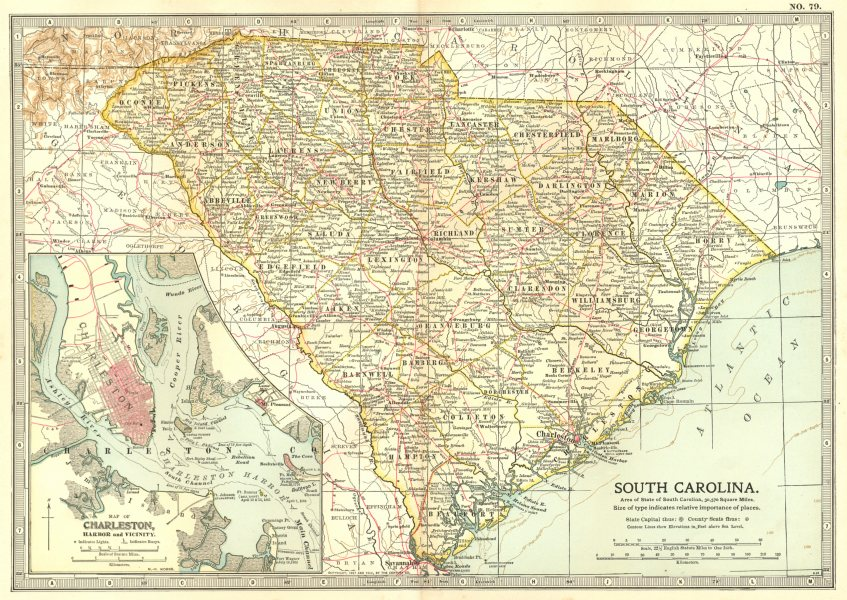 Associate Product SOUTH CAROLINA. State map shows Civil War battlefields.Inset Charleston 1903