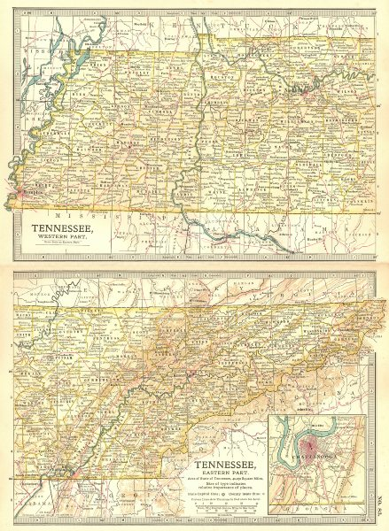 Associate Product TENNESSEE. State map. Shows civil war battlefields. Inset Chattanooga 1903