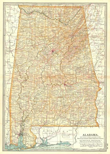 Associate Product ALABAMA. State map. Counties. Shows civil war battlefields. Britannica 1903