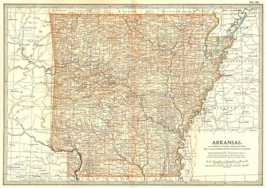 Associate Product ARKANSAS. State map showing counties & civil war battlefields/dates 1903