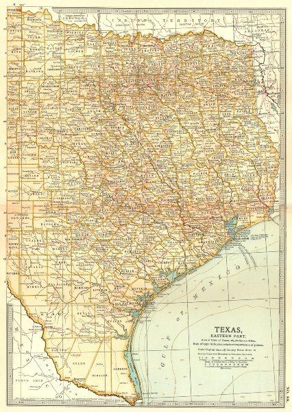 Associate Product TEXAS EAST. State map. Shows Texas revolution battlefields/dates 1835-6 1903
