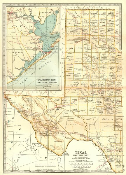 Associate Product TEXAS WEST. State map showing counties. Inset Galveston Bay, Houston 1903