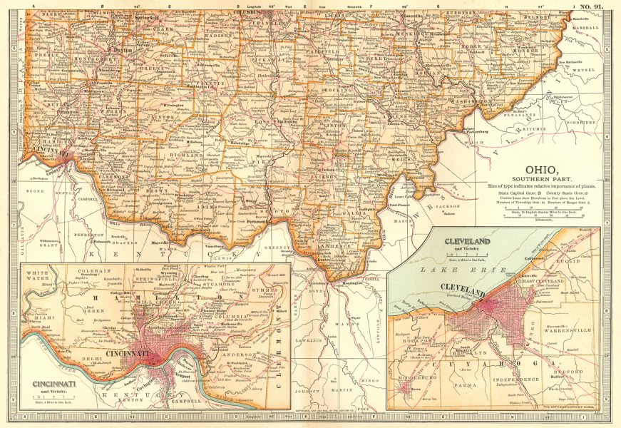 Associate Product OHIO SOUTH. State map showing counties. Inset Cincinnati & Cleveland 1903