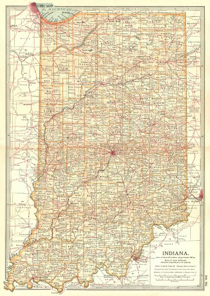Associate Product INDIANA. state map showing counties & some battlefields/dates 1903 old