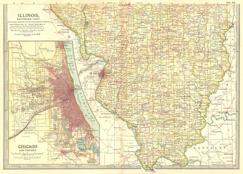 Associate Product ILLINOIS SOUTH. Showing counties. Inset Chicago & area. Britannica. 1903 map
