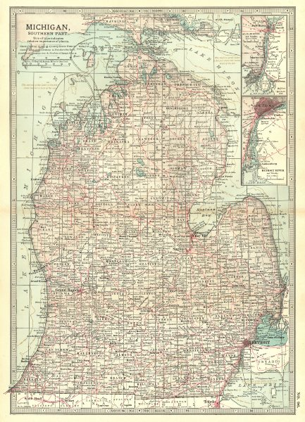 Associate Product MICHIGAN. South; Inset Detroit, St Clair River 1903 old antique map plan chart