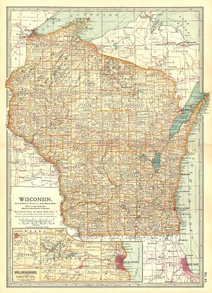 Associate Product WISCONSIN. Counties. Indian reservations. Milwaukee & Waukesha Lakes 1903 map