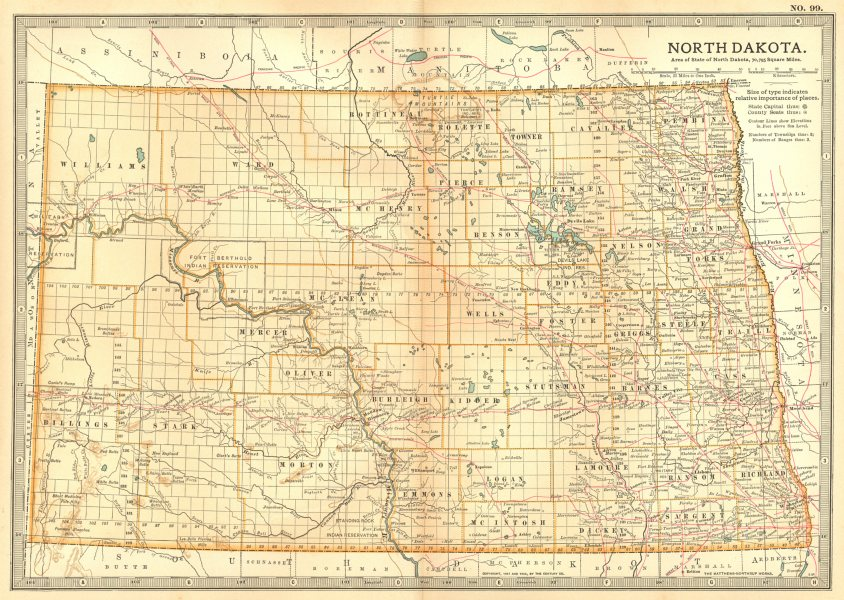 Associate Product NORTH DAKOTA. State map.Shows counties & Indian reservations.Britannica 1903