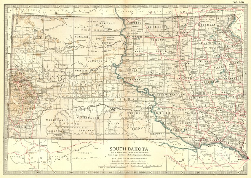 """SOUTH DAKOTA. State map. Shows former counties & """"not in any county"""" 1903"""