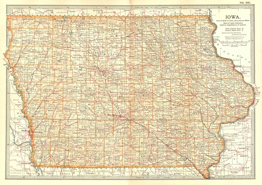Associate Product IOWA. State map showing counties. Britannica 10th edition. 1903 old