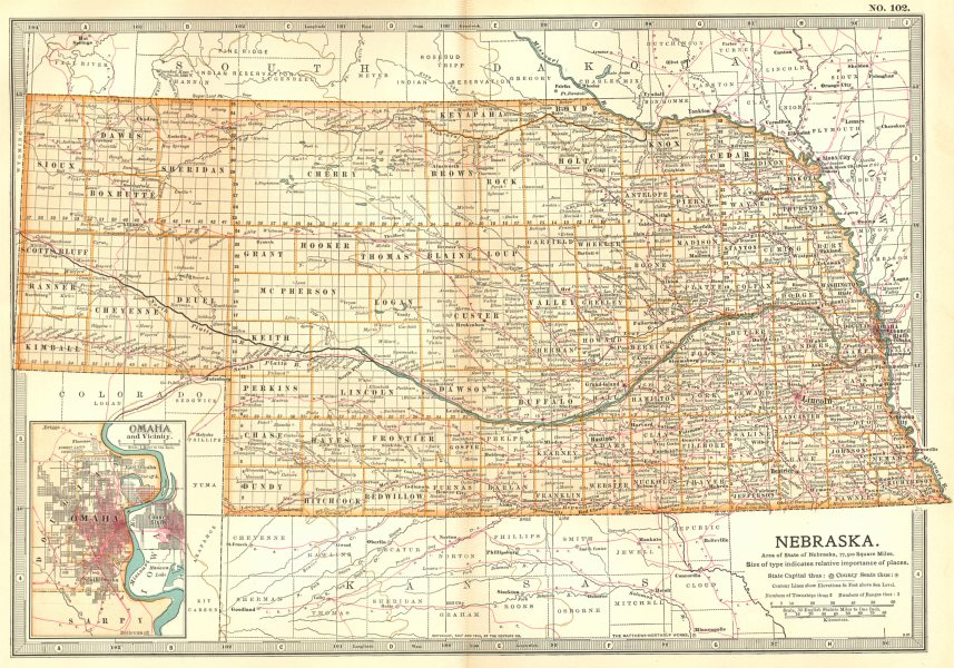 Associate Product NEBRASKA. State map showing counties. Inset Omaha & area. Britannica 1903