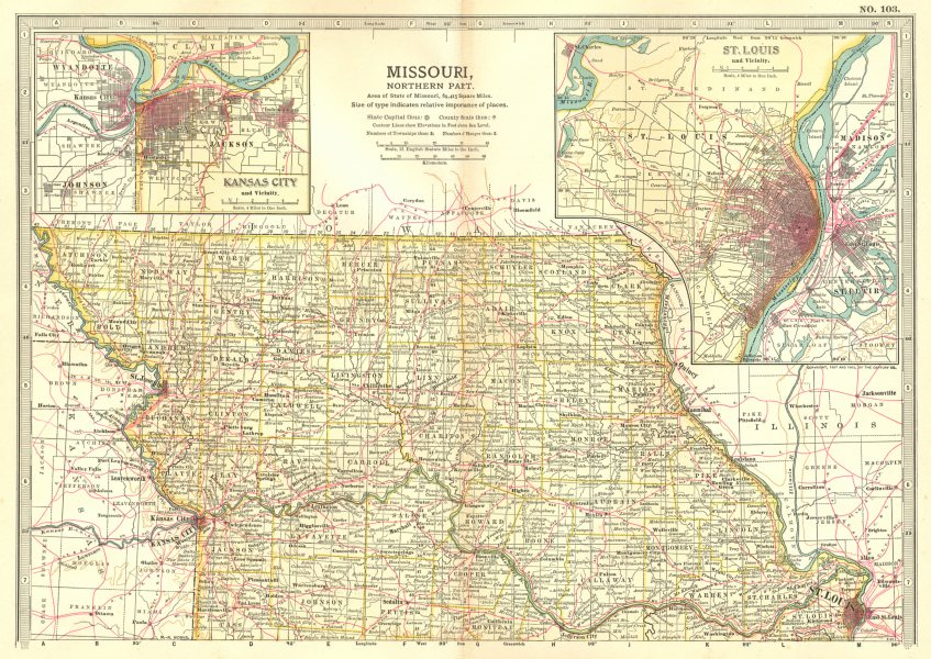 Associate Product MISSOURI NORTH. State map showing counties; Inset Kansas City, St Louis 1903