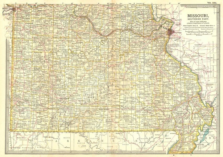 Associate Product MISSOURI SOUTH. State map showing Civil War battlefields/dates.St Louis 1903