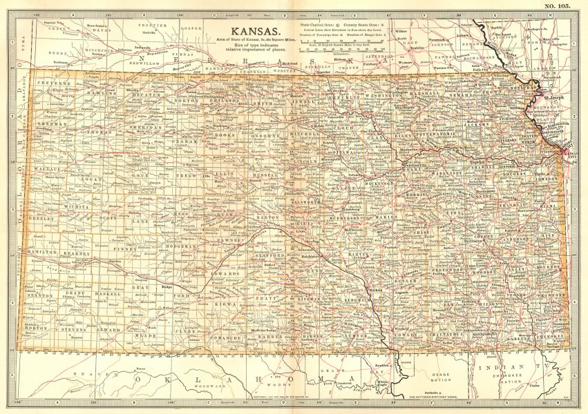Associate Product KANSAS. State map showing counties & Indian reservations. Britannica 1903