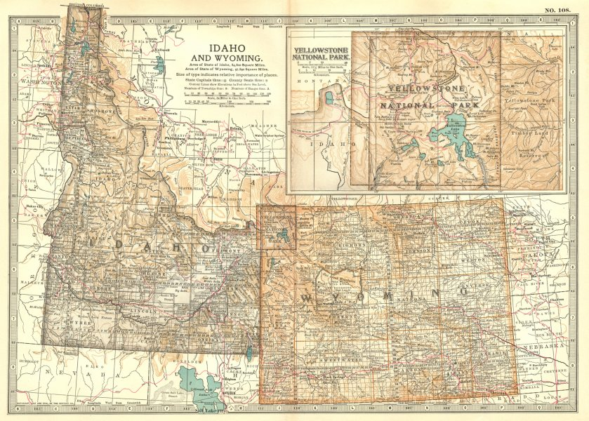 Associate Product IDAHO & WYOMING. State map showing counties. Inset Yellowstone Park 1903