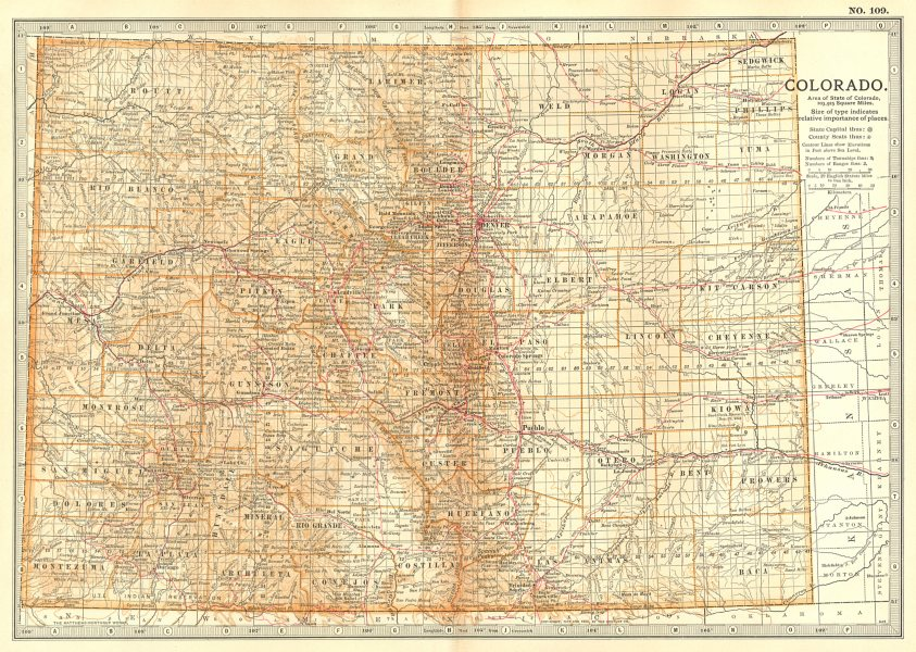 COLORADO. State map. Counties. Sand Creek Massacre. Indian fights 1868 1903