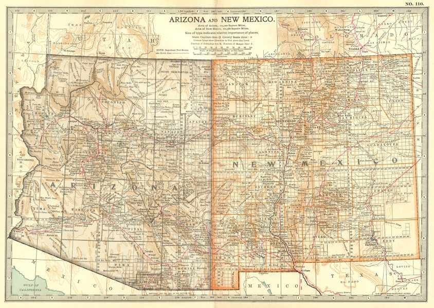 Associate Product ARIZONA & NEW MEXICO. State map showing counties. Britannica 10th ed. 1903