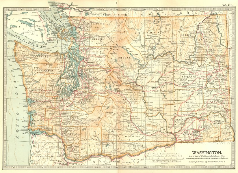 Associate Product WASHINGTON STATE. Showing counties & Indian reservations. Britannica 1903 map