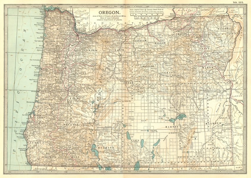 Associate Product OREGON. State map showing counties & Indian reservations. Britannica 1903