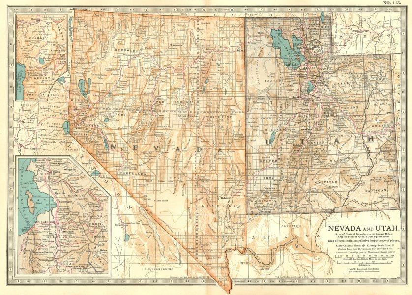 Associate Product NEVADA & UTAH. Inset Carson City, Salt Lake City. Counties.Britannica 1903 map