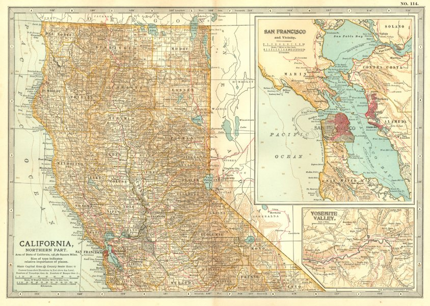 Associate Product CALIFORNIA NORTH & SAN FRANCISCO BAY. Inset Yosemite valley. Counties 1903 map