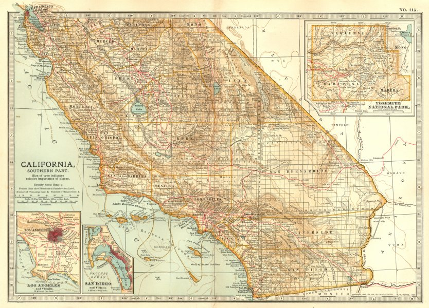 Associate Product CALIFORNIA. South; Los Angeles, San Diego, Yosemite national park 1903 old map