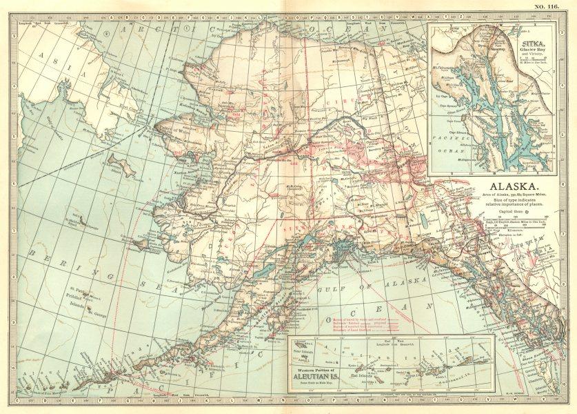 ALASKA. Showing boroughs. Inset Aleutian Isles, Sitka, Glacier Bay  1903 map