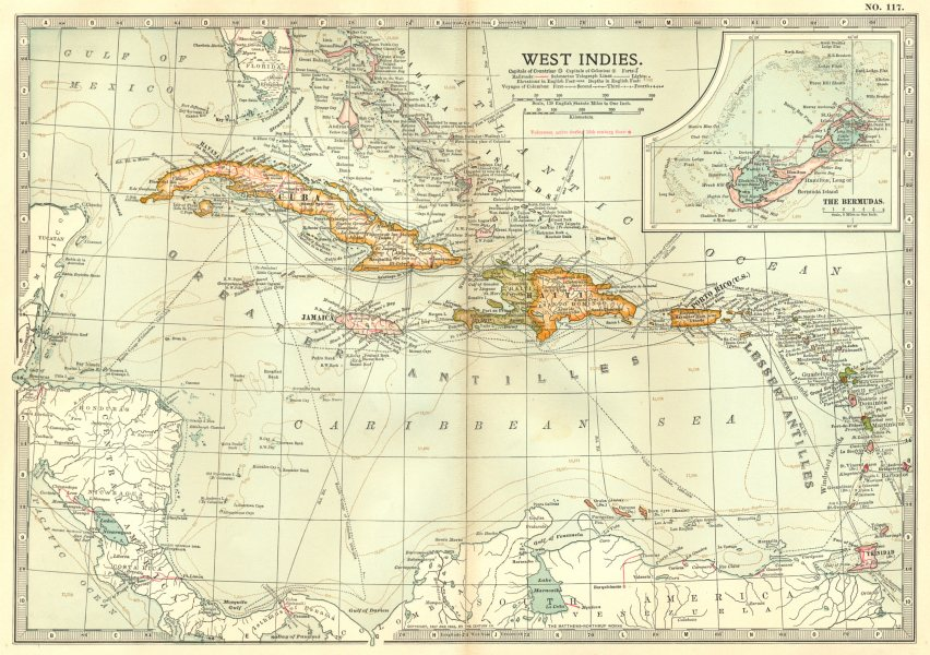 Associate Product WEST INDIES. Shows voyages of Columbus & 1782 1779 1800 1809 Battles 1903 map
