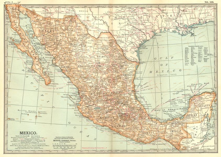 Associate Product MEXICO. Showing railroads roads steamship routes & battlefields 1903 old map