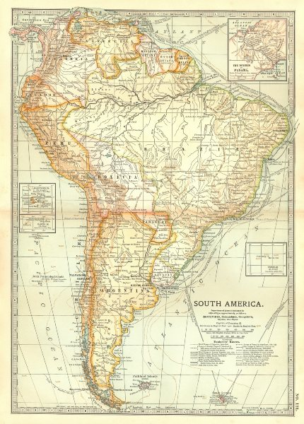 Associate Product SOUTH AMERICA. Shows explorers routes.Columbus Vespucci Cabot Cabral+ 1903 map
