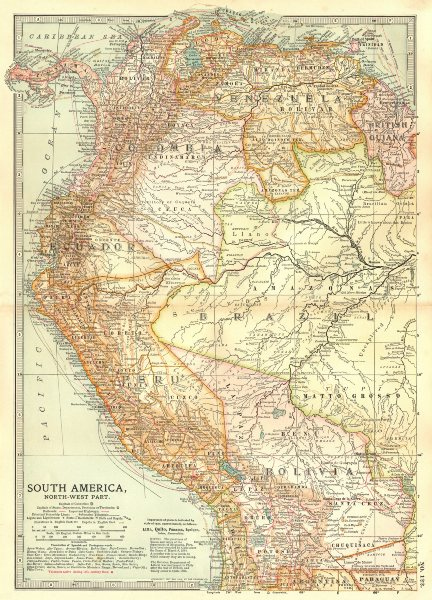 Associate Product PERU BOLIVIA CHILE.shows battles/dates inc.War of the Pacific 1877-80 1903 map