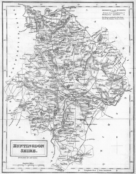 Associate Product HUNTS. Huntingdonshire. Hall 1831 old antique vintage map plan chart