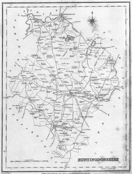 Associate Product HUNTS. Huntingdonshire. Lewis 1835 old antique vintage map plan chart
