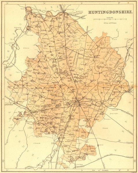 Associate Product HUNTS. Huntingdonshire. Virtue 1860 old antique vintage map plan chart