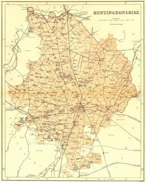 Associate Product HUNTS. Huntingdonshire. Virtue 1870 old antique vintage map plan chart