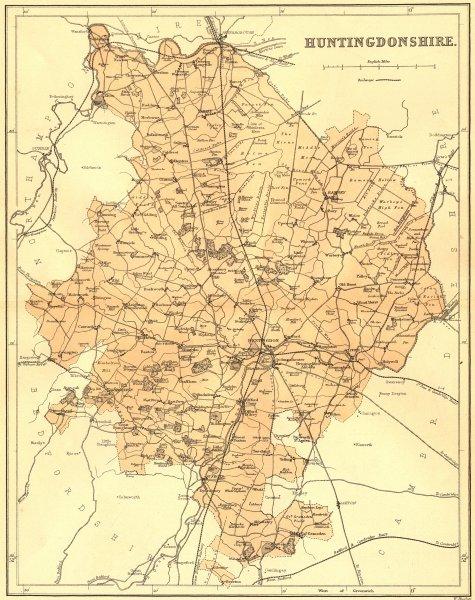 HUNTS. Huntingdonshire. Virtue 1868 old antique vintage map plan chart