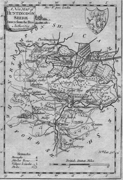 Associate Product HUNTS. Huntingdonshire. Walpoole Hogg 1784 old antique vintage map plan chart