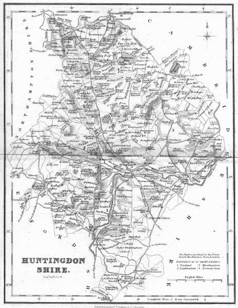 Associate Product HUNTS. Huntingdonshire. Fullarton 1844 old antique vintage map plan chart