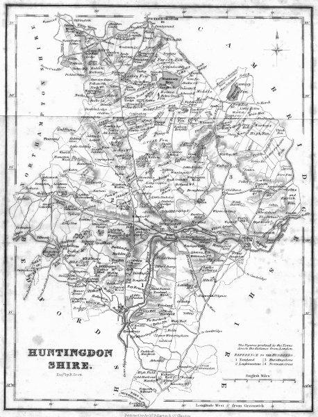HUNTS. Huntingdonshire. Fullarton 1844 old antique vintage map plan chart