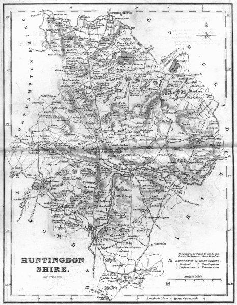 Associate Product HUNTS. Huntingdonshire. Fullarton 1841 old antique vintage map plan chart