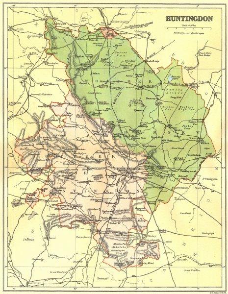 Associate Product HUNTS. Huntingdon. Brabner Weller 1895 old antique vintage map plan chart