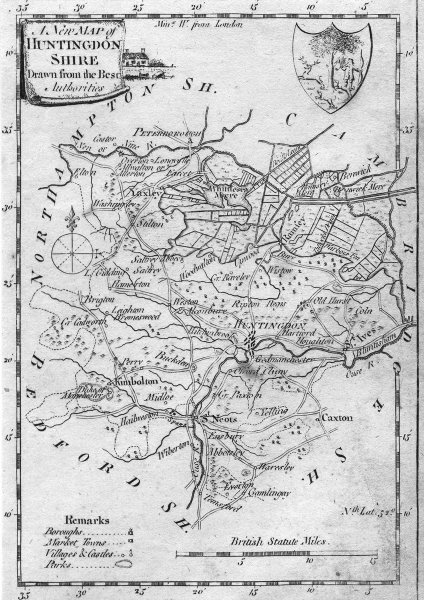 Associate Product HUNTS. Huntingdonshire. Dalton Hogg. (Divided) 1784 old antique map plan chart